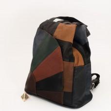 КОД: 0060 Дамска раница/чанта от естествена кожа на парчета в тъмни шарени цветове