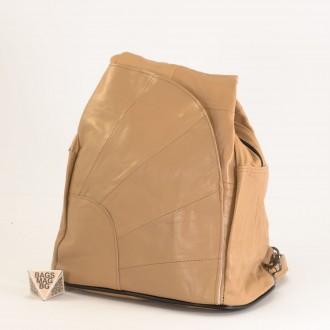 КОД: 0060 Дамска раница/чанта от естествена кожа на парчета в бежов цвят