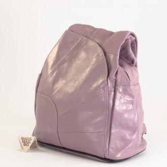 КОД: 0060 Дамска раница/чанта от естествена кожа на парчета в цвят пепел от рози