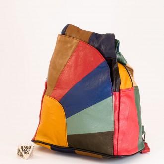 КОД: 0060 Дамска раница/чанта от естествена кожа на парчета в светли шарени цветове