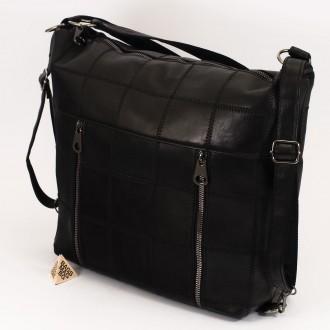 КОД: 0061 Дамска чанта от естествена кожа в черен цвят