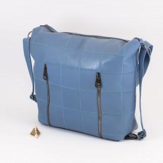 КОД: 0061 Дамска чанта от естествена кожа в син цвят