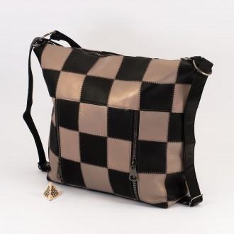 КОД: 0061 Дамска чанта от естествена кожа в черно и сиво