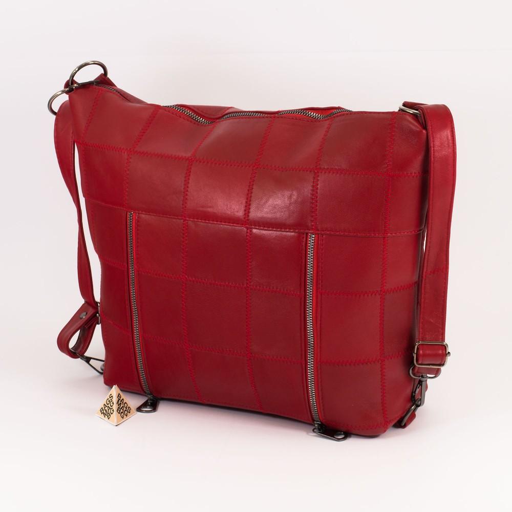 КОД: 0061 Дамска чанта от естествена кожа в червен цвят
