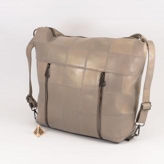 КОД: 0061 Дамска чанта от естествена кожа в сив цвят