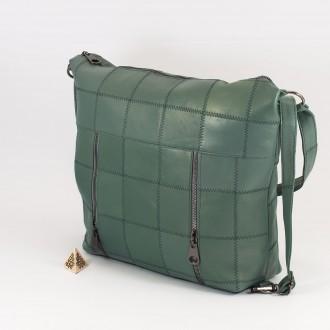КОД: 0061 Дамска чанта от естествена кожа в зелен цвят