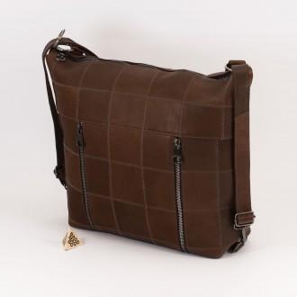 КОД: 0061 Дамска чанта от естествена кожа в кафяв цвят