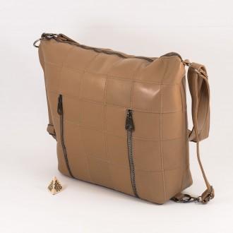 КОД: 0061 Дамска чанта от естествена кожа в цвят каки