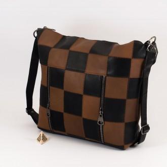 КОД: 0061 Дамска чанта от естествена кожа в черно и кафяво