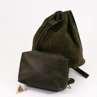 КОД : 0062 Малка дамска чанта 2 в 1 тип торба от естествена кожа и естествен велур в маслено зелен цвят