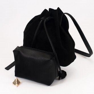 КОД : 0062 Малка дамска чанта 2 в 1 тип торба от естествена кожа и естествен велур в черен цвят