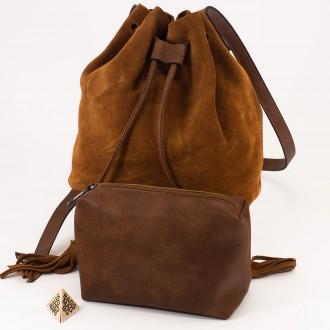 КОД : 0062 Малка дамска чанта 2 в 1 тип торба от естествена кожа и естествен велур в кафяв цвят