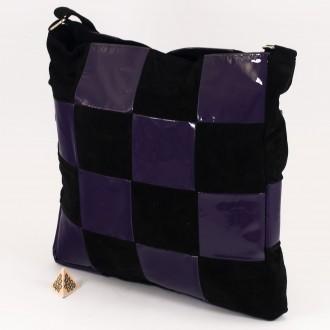 КОД: 0063 Дамска чанта от естествена кожа и естествен велур в черно с лилаво