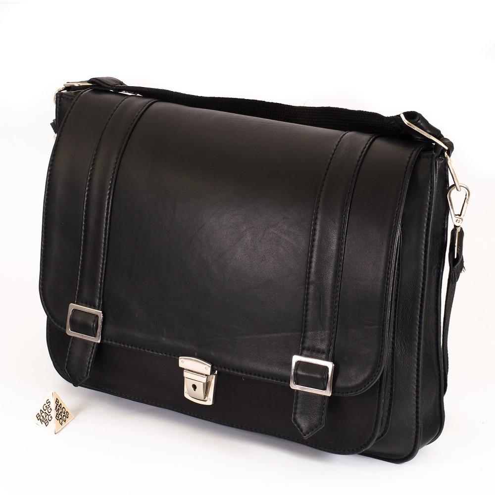 КОД : 0071 Чанта от естествена кожа в черен цвят