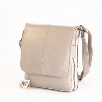 КОД : 00771 Мъжка чанта от естествена кожа в сив цвят