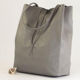 КОД : 0086-1 Дамска чанта тип торба от естествена кожа в сив цвят