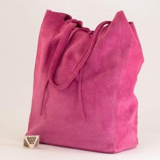КОД : 0086 Дамска чанта тип торба от естествен велур в розов цвят