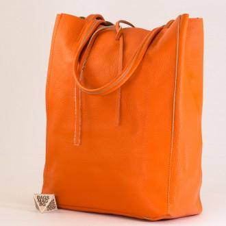 КОД : 0086-1 Дамска чанта тип торба от естествена кожа в оранжев цвят