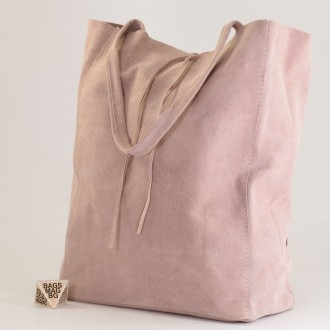 КОД : 0086 Дамска чанта тип торба от естествен велур в светло розов цвят