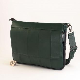 КОД : 01012 Чанта от естествена кожа в тъмно зелен цвят