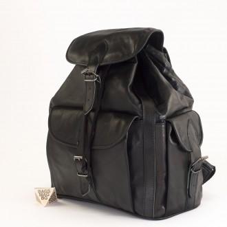 КОД: 01017 Дамска раница от естествена кожа в черен цвят