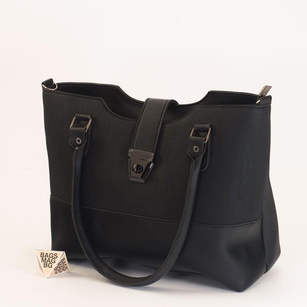 КОД: 01041 Дамска чанта от еко кожа в черен цвят
