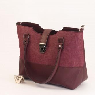 КОД: 01041 Дамска чанта от еко кожа в цвят бордо