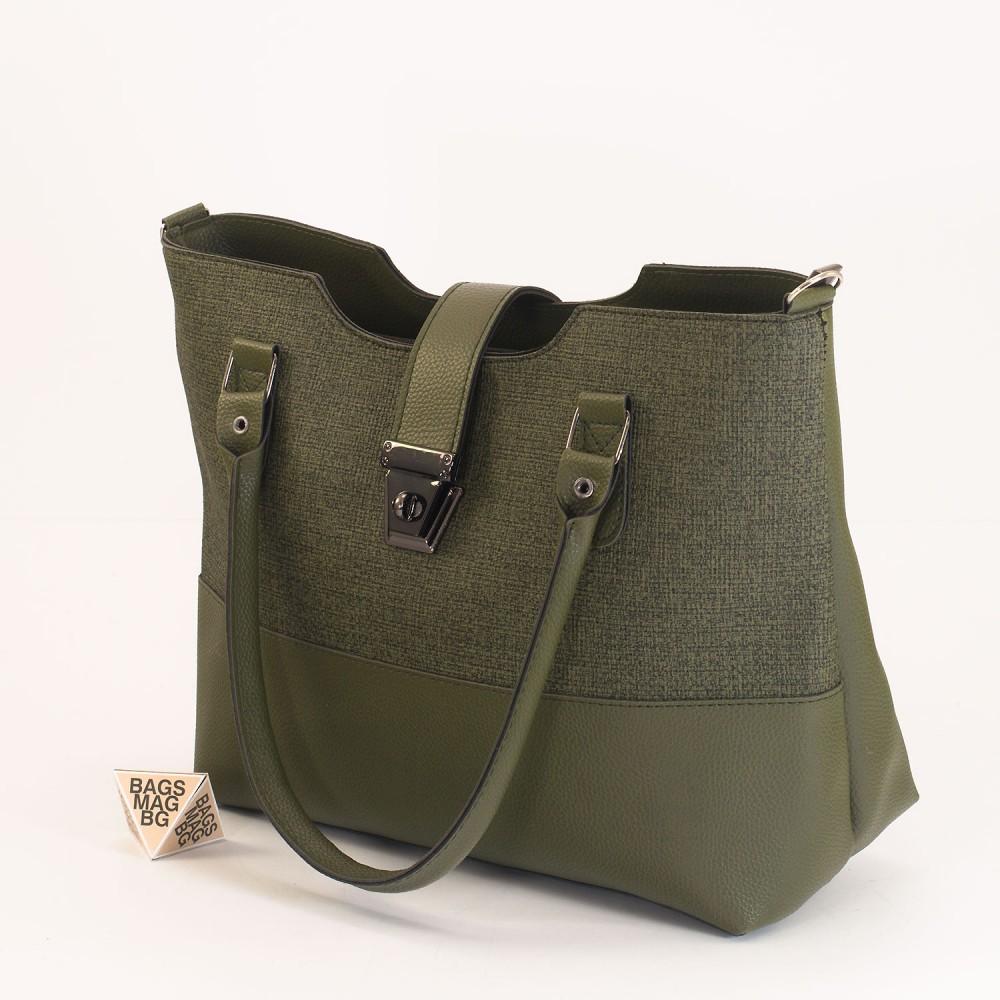 КОД: 01041 Дамска чанта от еко кожа в зелен цвят