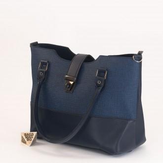 КОД: 01041 Дамска чанта от еко кожа в тъмно син цвят