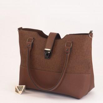 КОД: 01041 Дамска чанта от еко кожа в кафяв цвят