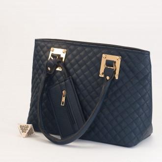 КОД: 01042 Дамска чанта от еко кожа в тъмно син цвят
