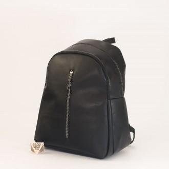 КОД: 01043 Дамска раница от еко кожа в черен цвят
