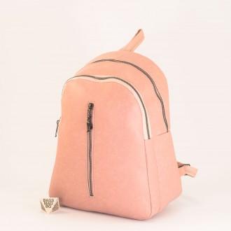 КОД: 01043 Дамска раница от еко кожа в розов цвят