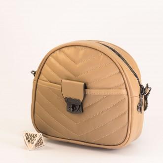 КОД: 01044-4 Малка дамска чанта от еко кожа в цвят каки