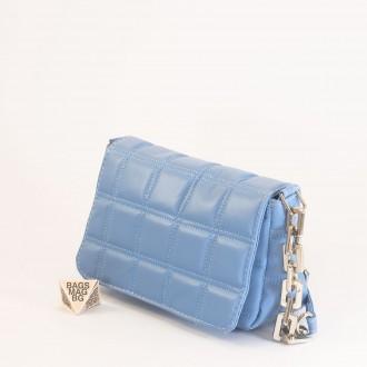 КОД: 01044-5 Малка дамска чанта от еко кожа в син цвят