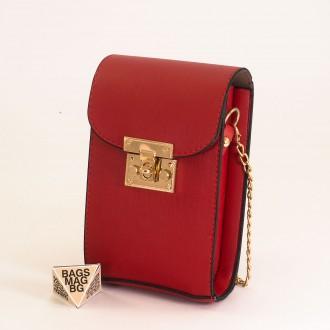 КОД: 01044-6 Малка дамска чанта от еко кожа в червен цвят