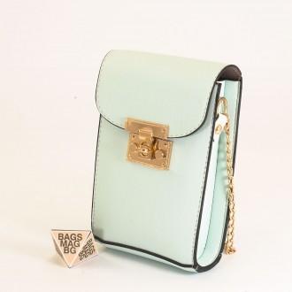 КОД: 01044-6 Малка дамска чанта от еко кожа в светло син цвят