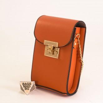 КОД: 01044-6 Малка дамска чанта от еко кожа в оранжев цвят