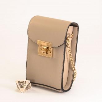 КОД: 01044-6 Малка дамска чанта от еко кожа в светло бежов цвят