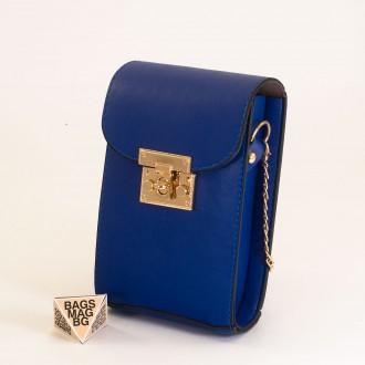 КОД: 01044-6 Малка дамска чанта от еко кожа в син цвят