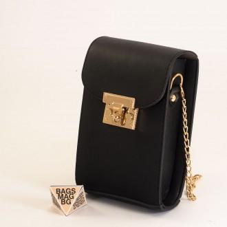 КОД: 01044-6 Малка дамска чанта от еко кожа в черен цвят