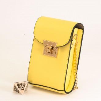 КОД: 01044-6 Малка дамска чанта от еко кожа в жълт цвят