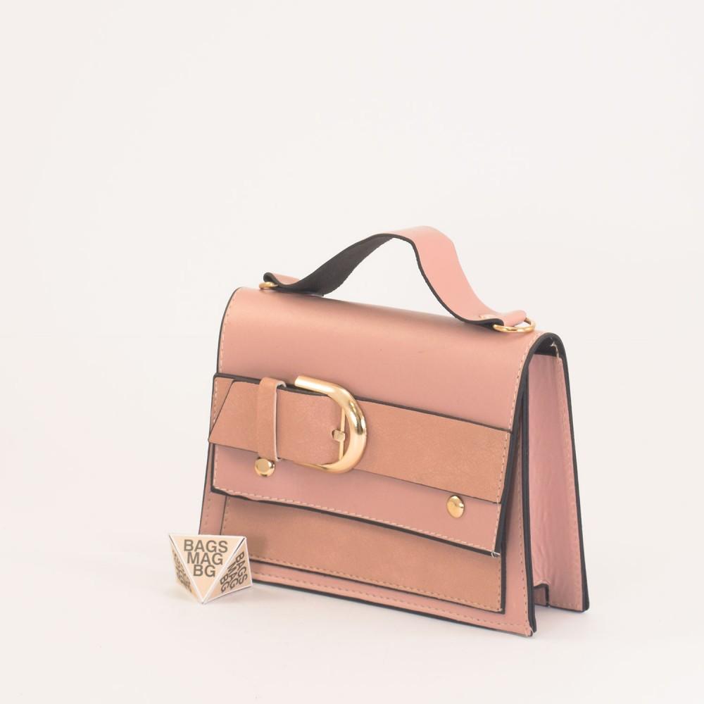 КОД: 01044-2 Малка дамска чанта от еко кожа в розов цвят