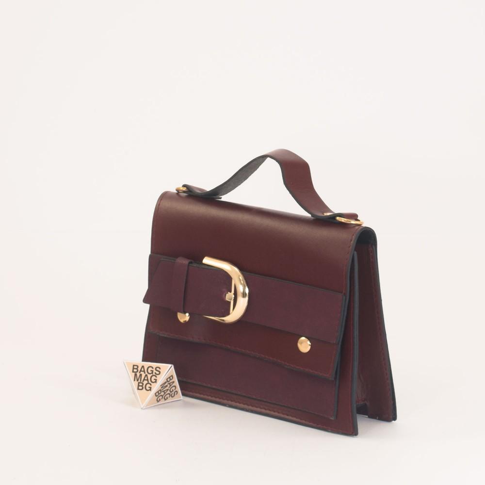 КОД: 01044-2 Малка дамска чанта от еко кожа в цвят бордо
