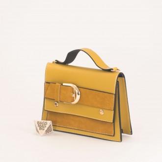 КОД: 01044-2 Малка дамска чанта от еко кожа в жълт цвят