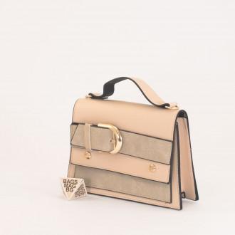 КОД: 01044-2 Малка дамска чанта от еко кожа в цвят априкот