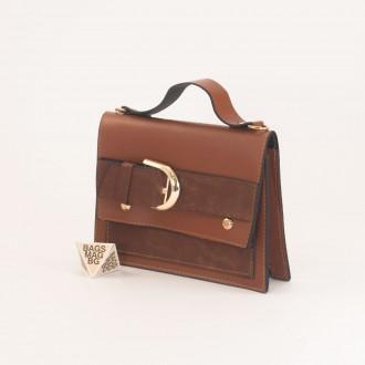 КОД: 01044-2 Малка дамска чанта от еко кожа в кафяв цвят