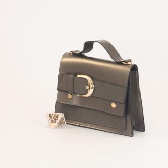 КОД: 01044-2 Малка дамска чанта от еко кожа в цвят старо злато