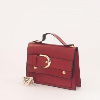 КОД: 01044-2 Малка дамска чанта от еко кожа в червен цвят