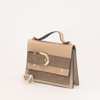 КОД: 01044-2 Малка дамска чанта от еко кожа в бежов цвят